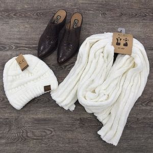 NWT! CC Ivory Chenille Beanie Hat and Scarf Set